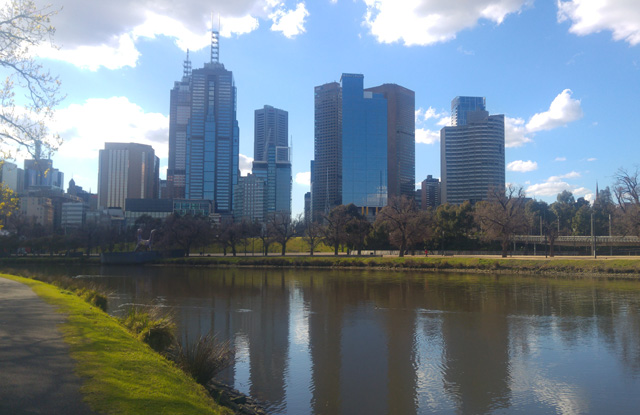 Melbourne CBD seen from Yarra River